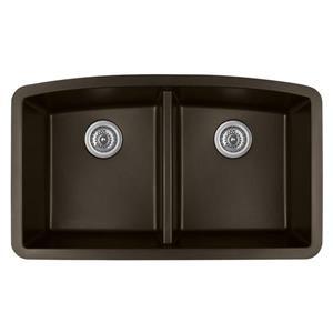 Karran Brown Quartz 32.5-in Double Kitchen Sink