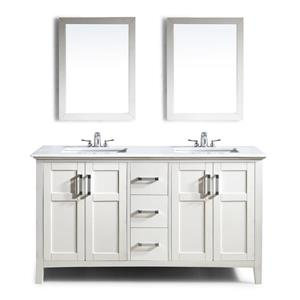 Simpli Home Winston 60-in Off-White Double Sink Bombay Quartz Marble Top Vanity