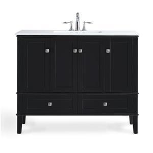 Simpli Home Chelsea 42-in Black Bathroom Vanity with Marble Top