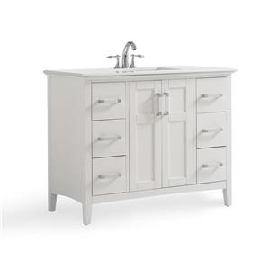 Simpli Home Winston 42-in Off  White With Sink Bombay Quartz Marble Top Vanity