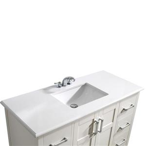 Simpli Home Winston 48-in Off-White  With Sink Bombay Quartz Marble Top Vanity