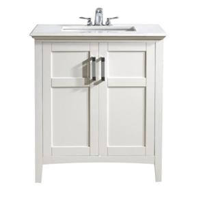 Simpli Home Winston 30-in Off White With Sink Bombay Quartz Marble Top Vanity