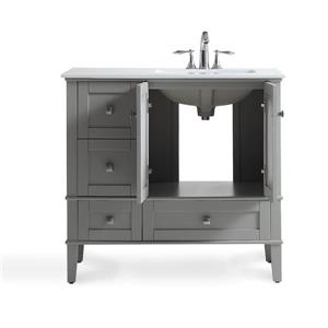 Simpli Home Chelsea 36-in Gray Bathroom Vanity with Marble Top
