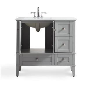 Simpli Home Chelsea 36-in Gray Bathroom Vanity with Marble Top