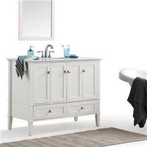 Simpli Home Chelsea 42-in Off White Bathroom Vanity with Marble Top