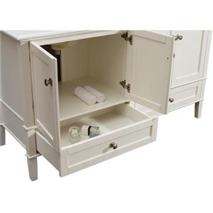 Simpli Home Chelsea 60-in Double Sink Off White Bathroom Vanity with Marble Top