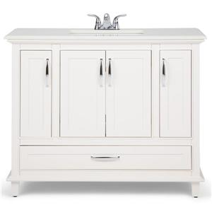 Simpli Home Ariana 42-in Off White With Sink Quartz Marble Bombay Vanity