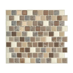 Smart Tiles Brixia Pardo 10-in x 10-in Stick Self-Adhesive Mosaic Wall Tile