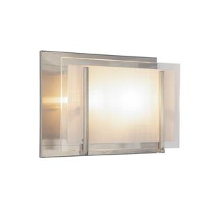 Levico Lighting Brina 8-In x 6.5-In x 4-In 2-Light Brushed Nickel Wall Sconce