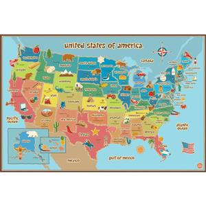 WallPops USA Dry Erase Map Decal for Kids