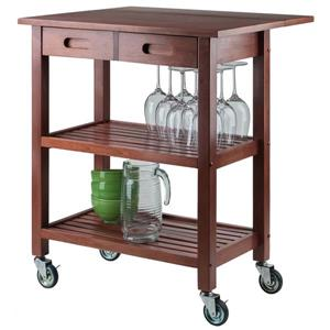Winsome Wood 33.07-in  Walnut Wood Jonathan Kitchen Cart