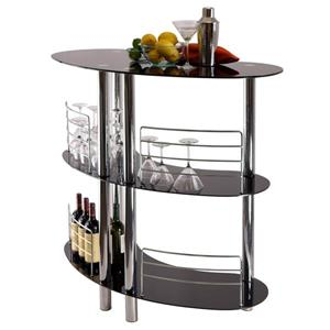 Winsome Wood 47.05-in x 41.8-in Black Metal with Brushed Nickel Martini Entertainment Home Bar