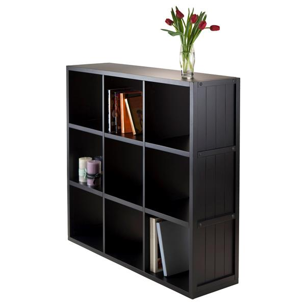Winsome Wood Timothy 37 76 x 40 08-in 9 Cube Storage Shelf Black