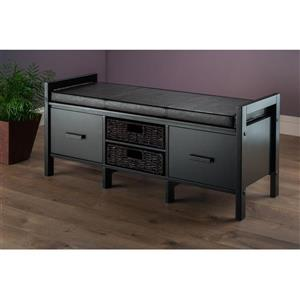 Winsome Wood Fulton 41-in L Espresso Wooden Indoor Bench With Faux Leather, Corn Husk Baskets and Drawers