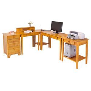 Winsome Wood Studio Honey 5-Piece Wood Home Office Set