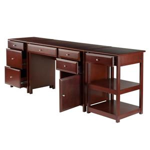 Winsome Wood Delta Walnut 3-Piece Wood Home Office Set
