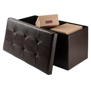 Winsome Wood Ashford 30-in x 15-in x 15-in Espresso Faux Leather Ottoman