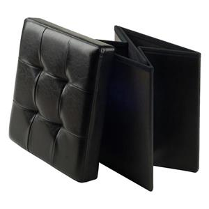 Winsome Wood Ashford 15-in x 15-in x 15-in Black Faux Leather Ottoman