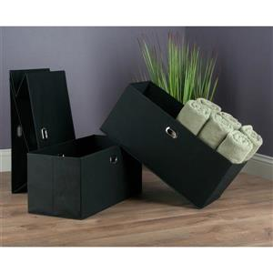 Winsome Wood 2.75-in x 23.8-in Torino Folding Black Fabric Baskets (3 Pack)