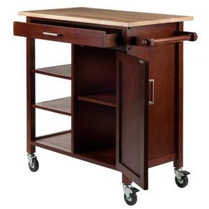 Winsome Wood Marissa 36-in x 34-in Walnut Wood Kitchen Cart