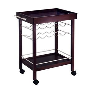 Winsome Wood 30-in x 33-in Espresso Wood Johnnie Bar Cart