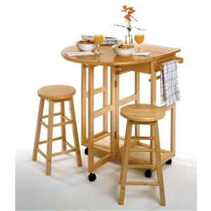 Winsome Wood Burnett 29.29-in x 32.79-in Space Saver Gold Wood Kitchen Island With 2 Stools