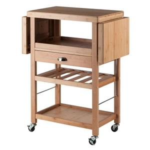 Winsome Wood Barton 45.28-in x 35.43-in Modern Gold Bamboo Kitchen Cart