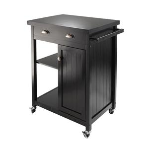 Winsome Wood Timber Kitchen Cart - 28-in x 34-in - Wood - Black
