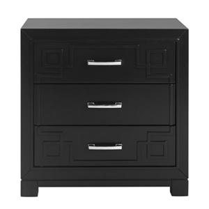 Safavieh 25-in x 24-in Raina Black Three Drawer Greek Key Nightstand