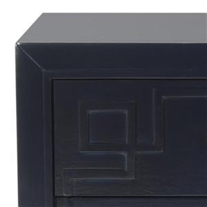 Safavieh 25-in x 24-in Raina Dark Navy Three Drawer Greek Key Nightstand