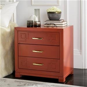 Safavieh 25-in x 24-in Raina Dark Red Three Drawer Greek Key Nightstand