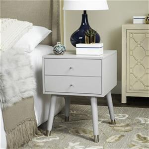 Safavieh Lyla 24-in x 18-in Light Grey Mid Century Retro Silver Cap Nightstand