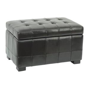 Safavieh Hudson Manhattan 17.00-in x 30.00-in Black Faux Leather Small Storage Ottoman