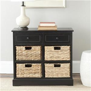 Safavieh Herman Rectangular Distressed Black  2 Drawer Storage Unit Console Table