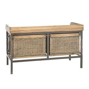 Safavieh Noah 20.10-in x 32.90-in Antique Pewter/ Medium Oak Storage Bench