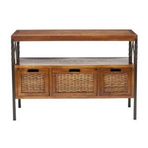 Safavieh American Home Joshua Rectangular 2 Shelves 3 Drawers Dark Walnut Console Table