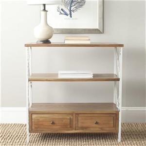 Safavieh American Home Chandra Rectangular 3 Shelves 2 Drawers Oak Wood Console Table