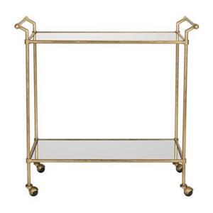 Safavieh Fox 31-in x 30-in Gold/Mirror Lucretius Bar Cart