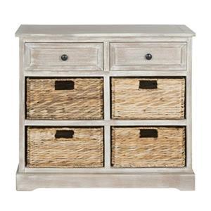 Safavieh Herman Whitewash Wood Storage Unit With Storage Baskets