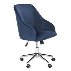 Safavieh 20.87-in Blue Adrienne Chrome Leg Swivel Office Chair