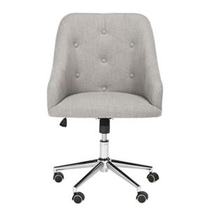 Safavieh 20.87-in Grey Evelynn Tufted Chrome leg Swivel Office Chair