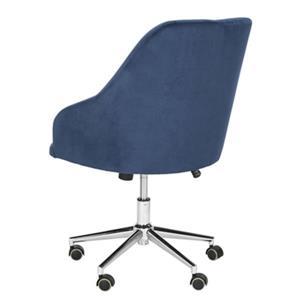 Safavieh 20.87-in Blue Evelynn Tufted Chrome Leg Swivel Office Chair