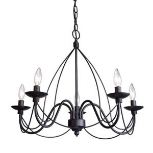 Artcraft Lighting 96-in Wrought Iron Ebony Black 6-Light ...