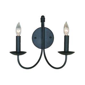 Artcraft Lighting Pot Racks 14-in W 2-Light Ebony black Arm Wall Sconce