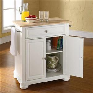 Crosley Furniture 18-in x 28-in White Craftsman Wood Kitchen Island With Stainless Steel Top