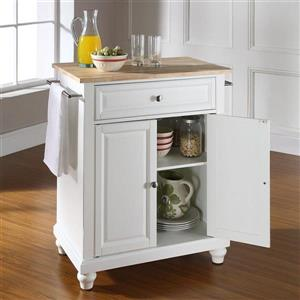 Crosley Furniture 18-in x 28-in White Craftsman Wood Kitchen Island With Wood Top