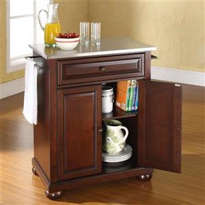 Crosley Furniture 18-in x 36-in Vintage Mahogany With Stainless Steel Top Portable Kitchen Island Cart