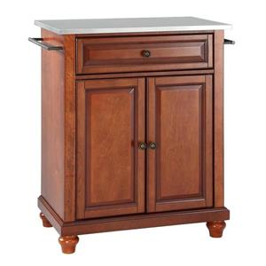 Crosley Furniture 18-in x 36-in Classic Cherry With Stainless Steel Top Portable Kitchen Island Cart