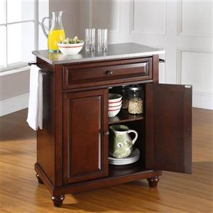 Crosley Furniture 18-in x 36-in Vintage Mahogany With Stainless Steel Top Portable Kitchen Island