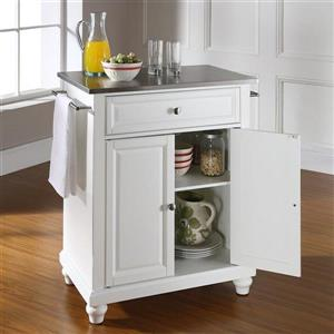 Crosley Furniture 18-in x 36-in White With Stainless Steel Top Portable Kitchen Island